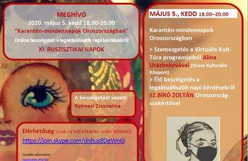 Május 5-én 18.00-tól a XI. Ruszisztikai Napok vendégei lesznek Alina Urazbekova és Sz. Bíró Zoltán.