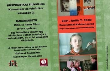 """Április 7-én 18-kor a nagy port kavart """"Madárijesztő"""" c. filmről beszélgetünk a filmklubban (Rolan Bikov, 1983)."""
